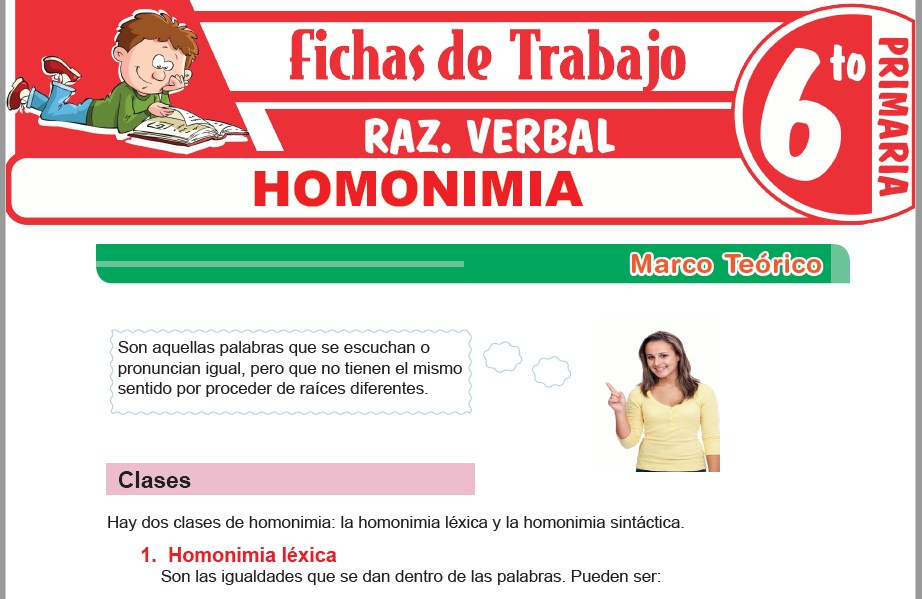 Modelos de la Ficha de Homonimia para Sexto de Primaria