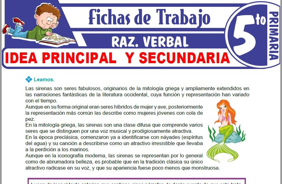 Idea Principal Y Secundaria Para Quinto De Primaria Fichas De Trabajo