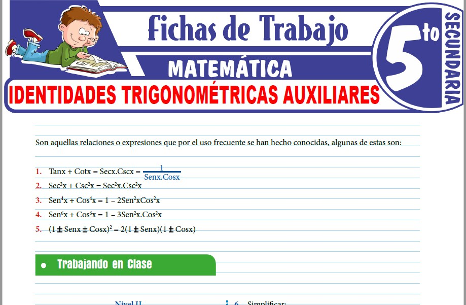 Modelos de la Ficha de Identidades trigonométricas auxiliares para Quinto de Secundaria