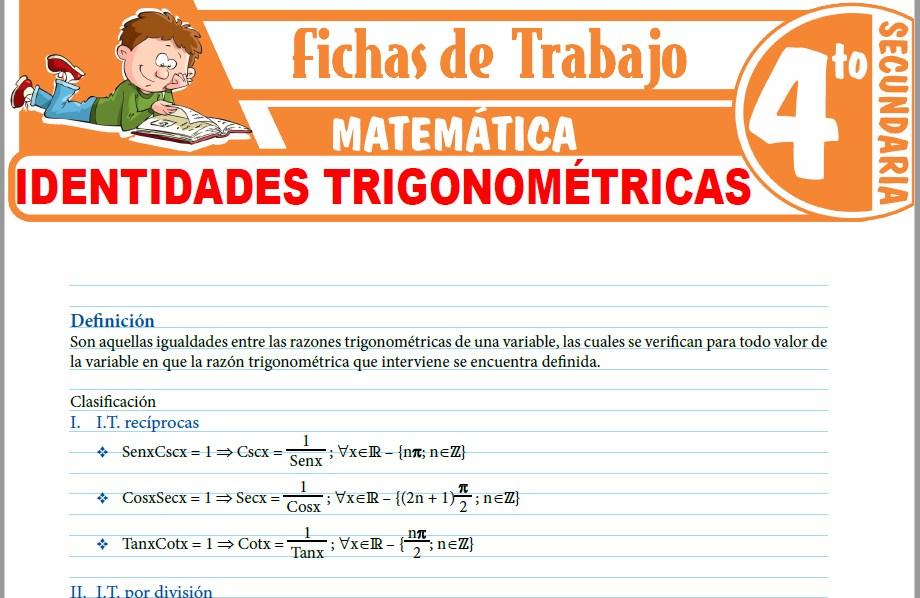 Modelos de la Ficha de Identidades trigonométricas para Cuarto de Secundaria