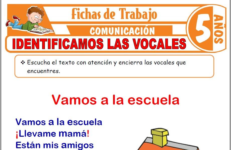 Modelos de la Ficha de Identificamos las vocales para Niños de Cinco Años