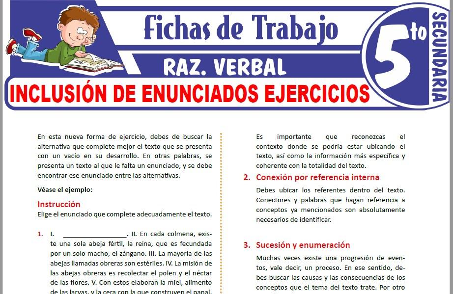 Modelos de la Ficha de Inclusión de enunciados ejercicios para Cuarto de Secundaria