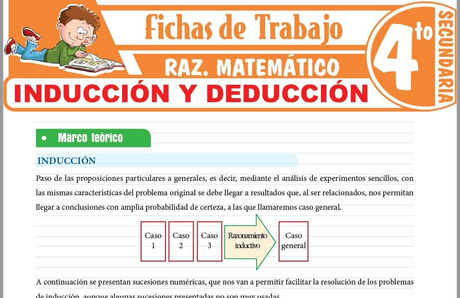 Modelos de la Ficha de Inducción y deducción para Cuarto de Secundaria
