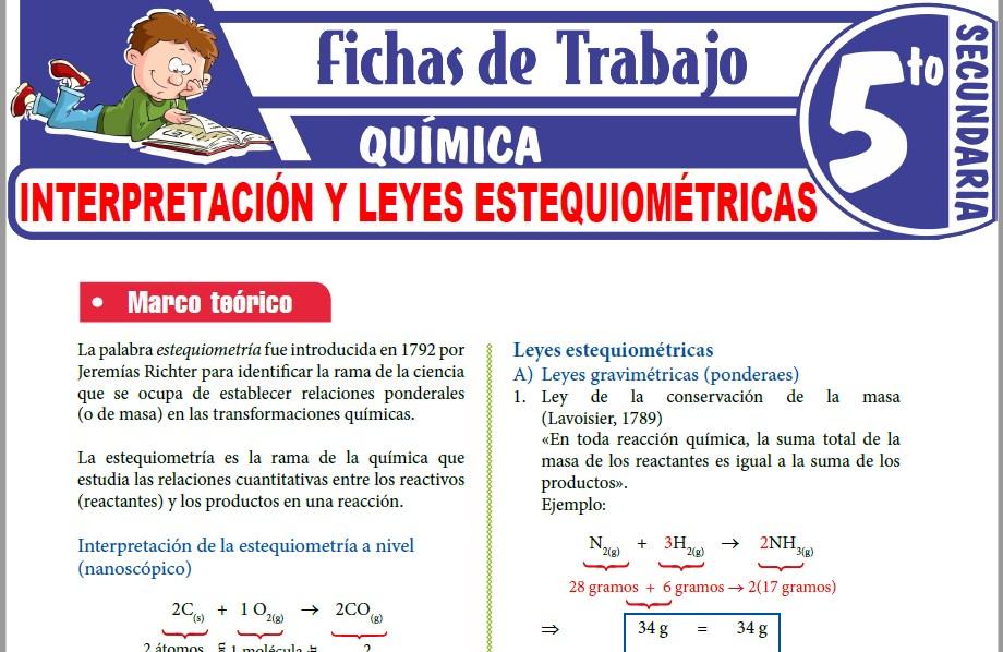 Modelos de la Ficha de Interpretación y leyes estequiométricas para Quinto de Secundaria