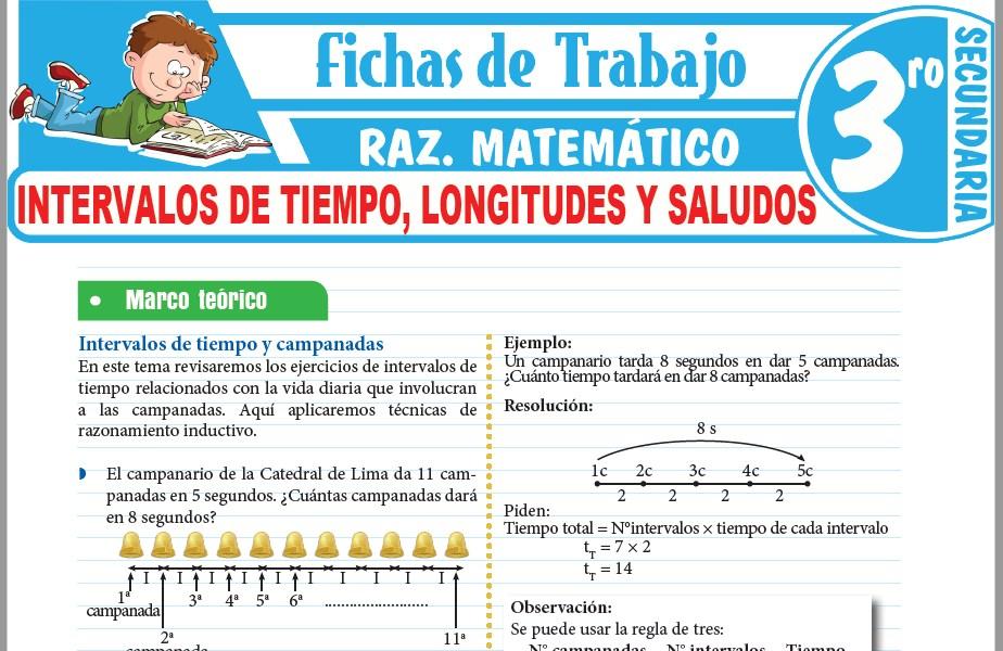 Modelos de la Ficha de Intervalos de tiempo, longitudes y saludos para Tercero de Secundaria