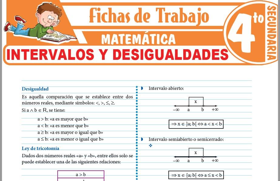 Modelos de la Ficha de Intervalos y desigualdades para Cuarto de Secundaria