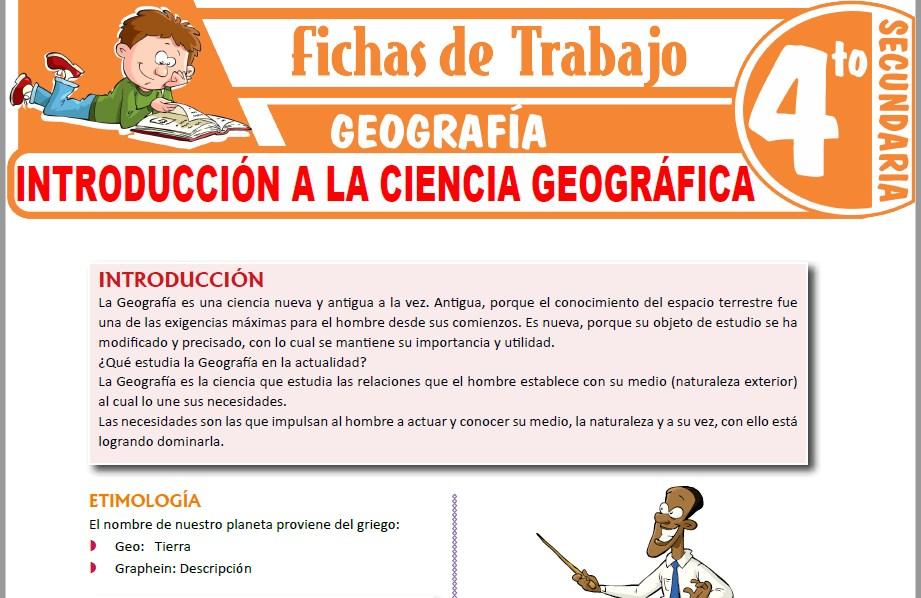 Modelos de la Ficha de Introducción a la ciencia geográfica para Cuarto de Secundaria