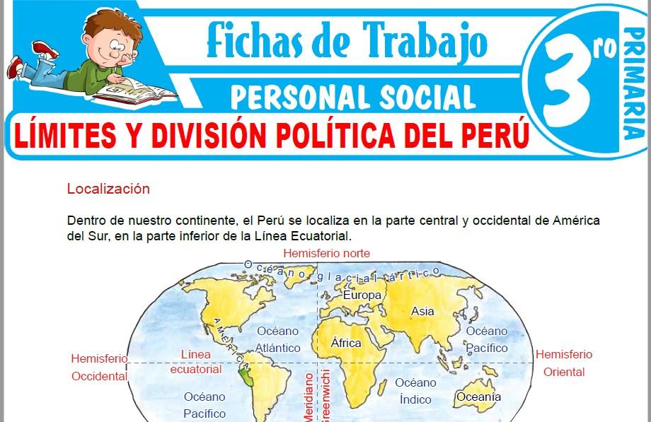 Modelos de la Ficha de Límites y división política del Perú para Tercero de Primaria