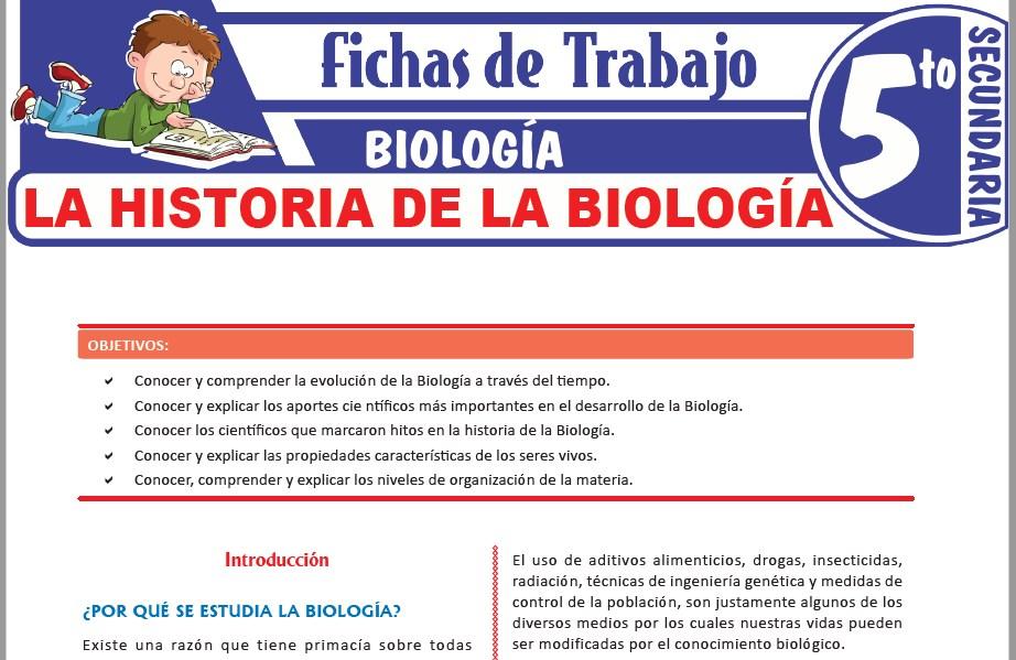 Modelos de la Ficha de La Biología y su historia para Quinto de Secundaria