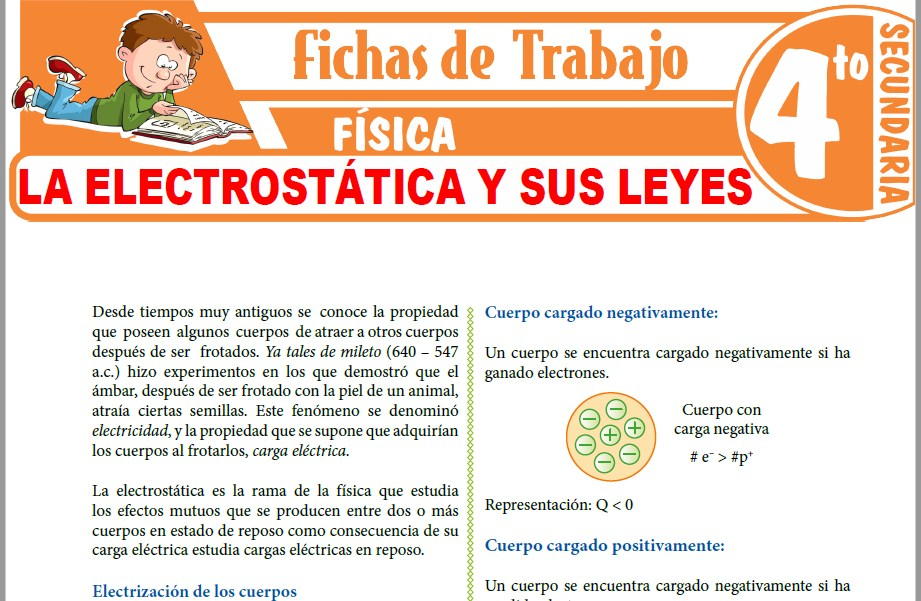 Modelos de la Ficha de La Electrostática y sus Leyes para Cuarto de Secundaria