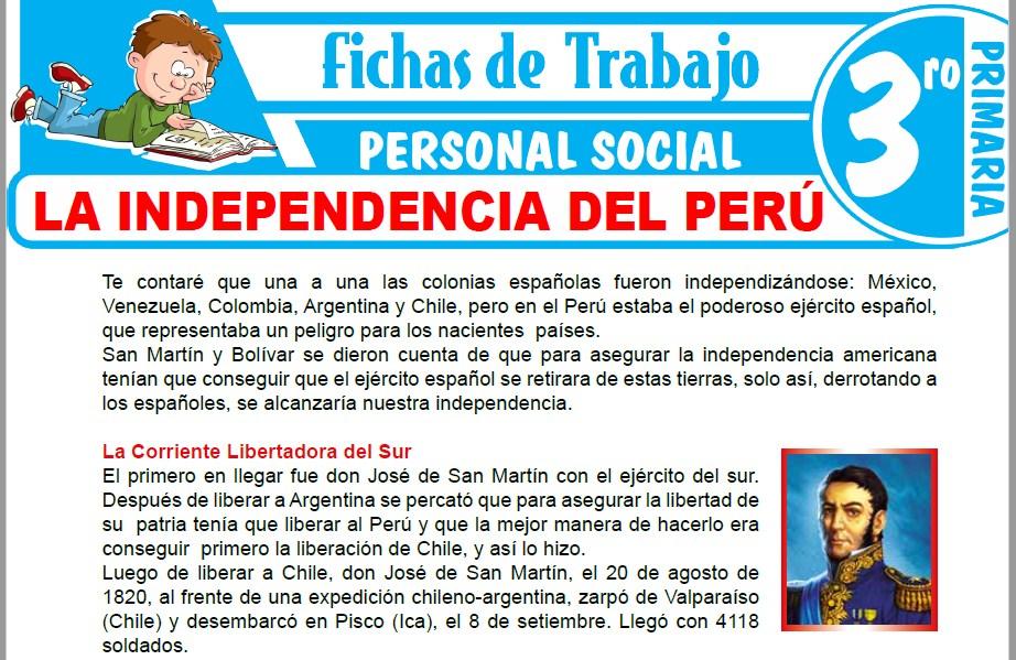 Modelos de la Ficha de La Independencia del Perú para Tercero de Primaria