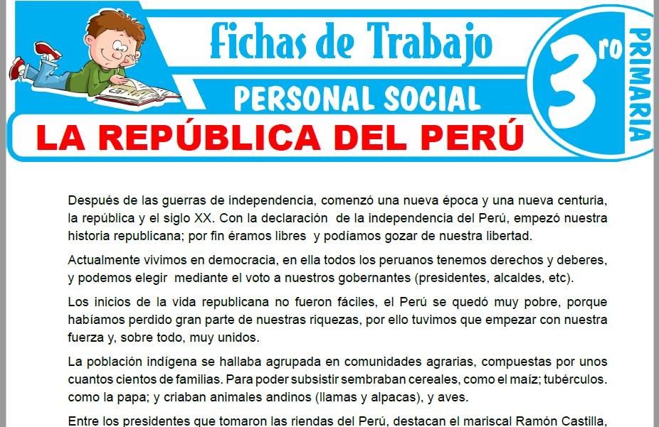 Modelos de la Ficha de La República del Perú para Tercero de Primaria