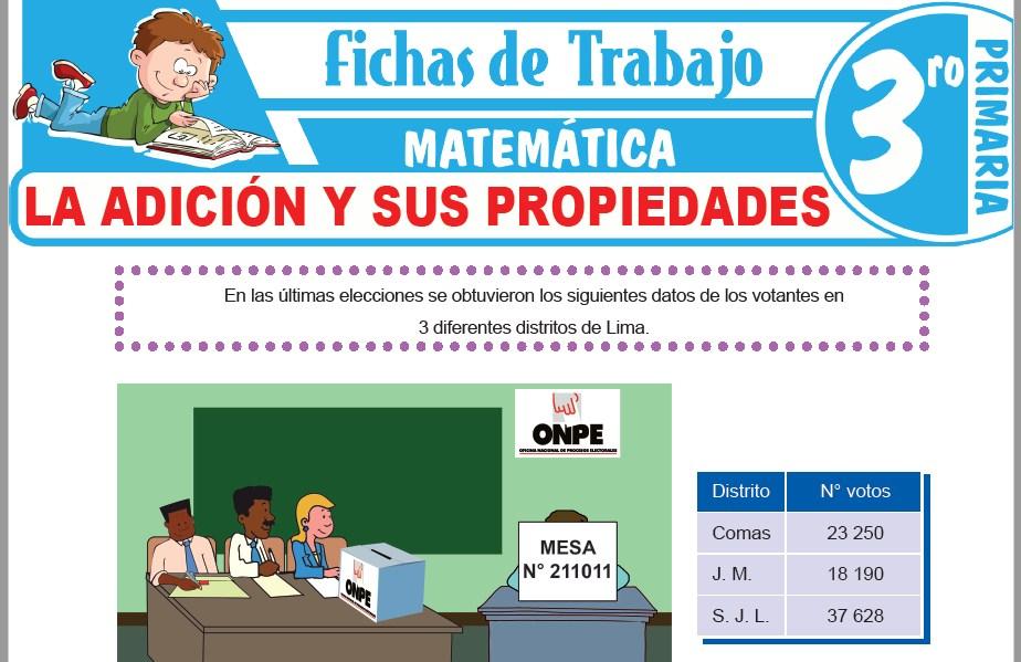 Modelos de la Ficha de La adición y sus propiedades para Tercero de Primaria