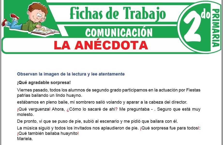 Modelos de la Ficha de La anécdota para Segundo de Primaria