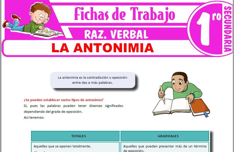 Modelos de la Ficha de La antonimia para Primero de Secundaria