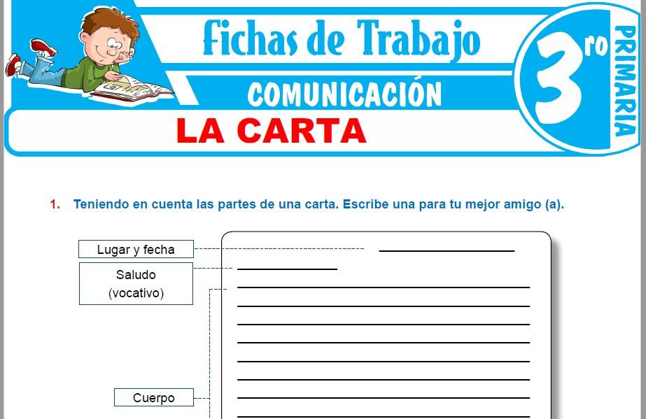 Modelos de la Ficha de La carta para Tercero de Primaria