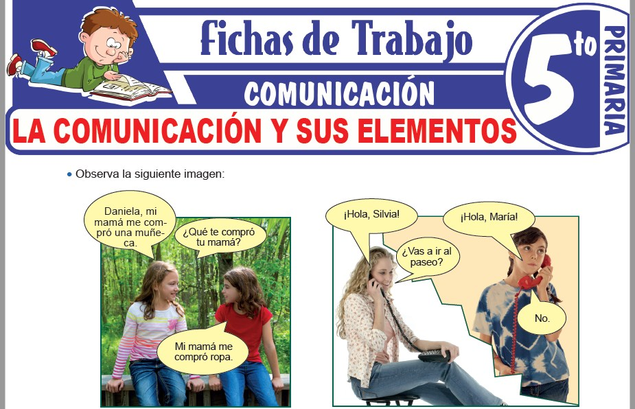 Modelos de la Ficha de La comunicación y sus elementos para Quinto de Primaria