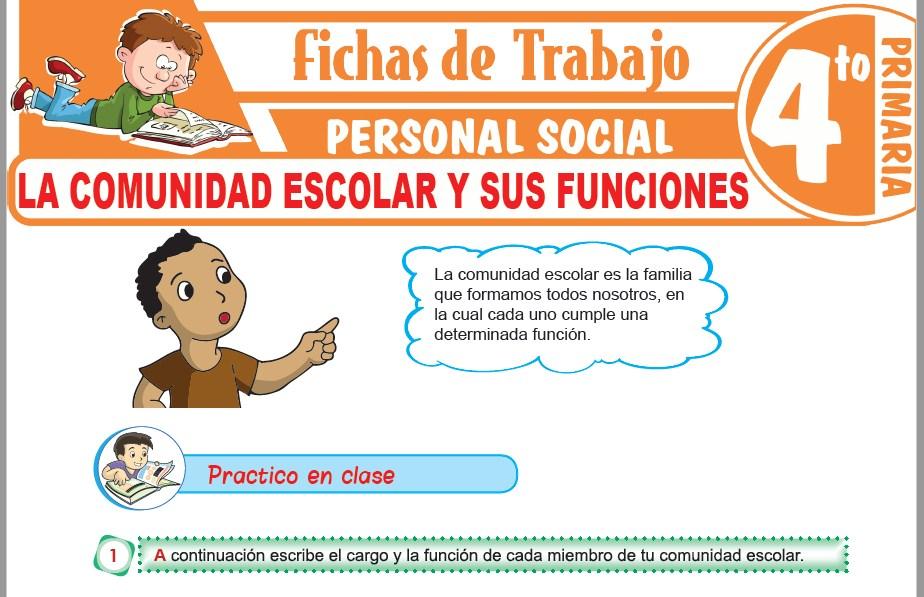 Modelos de la Ficha de La comunidad escolar y sus funciones para Cuarto de Primaria