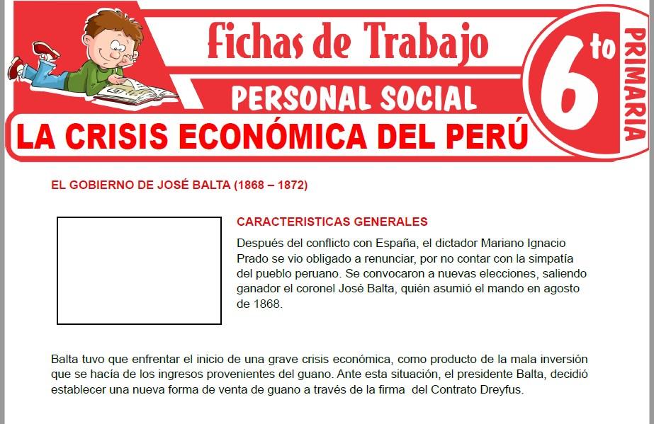 Modelos de la Ficha de La crisis económica del Perú para Sexto de Primaria