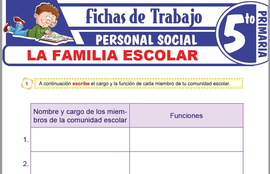 Modelos de la Ficha de La familia escolar para Quinto de Primaria