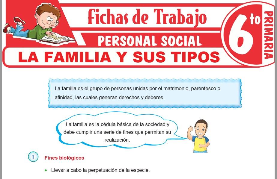 Modelos de la Ficha de La familia y sus tipos para Sexto de Primaria