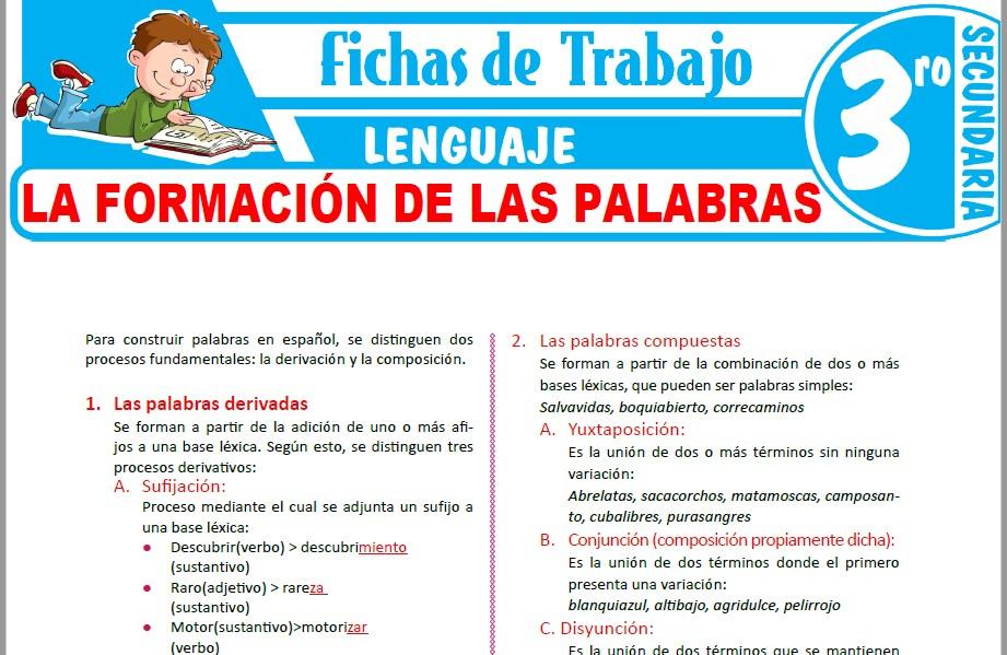 Modelos de la Ficha de La formación de las palabras para Tercero de Secundaria