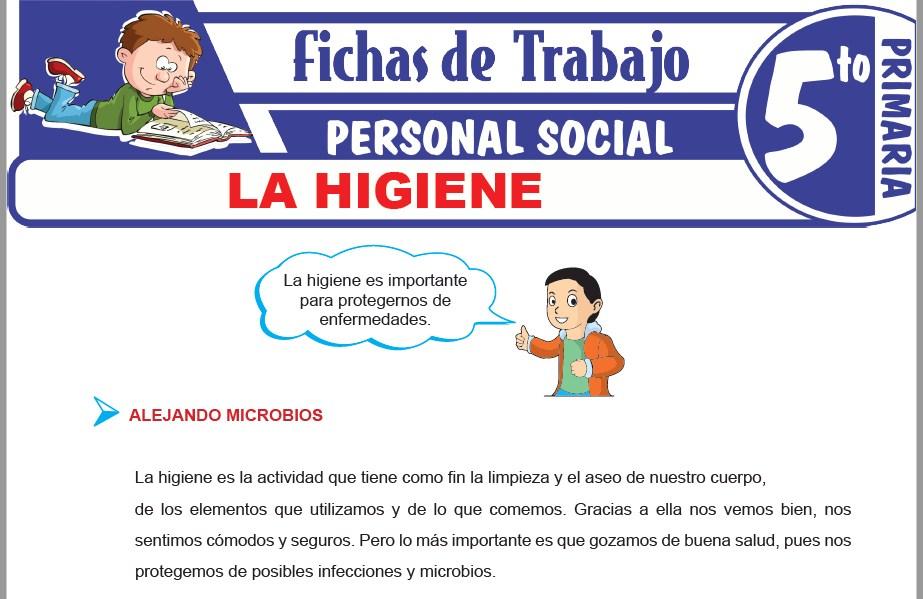 Modelos de la Ficha de La higiene para Quinto de Primaria