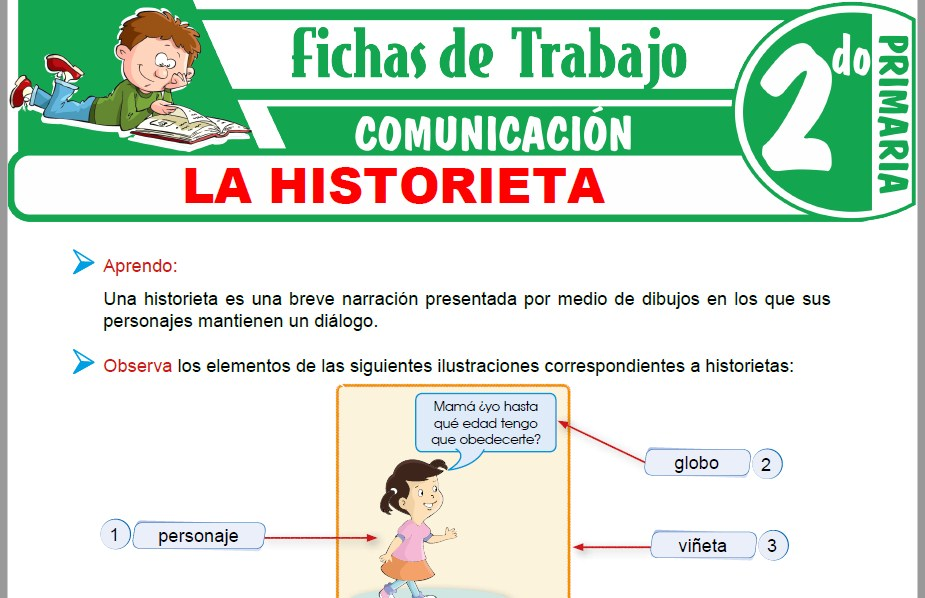 Modelos de la Ficha de La historieta para Segundo de Primaria