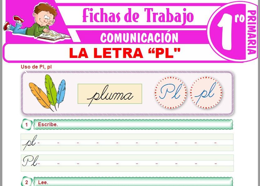 """Modelos de la Ficha de La letra """"PL"""" para Primero de Primaria"""