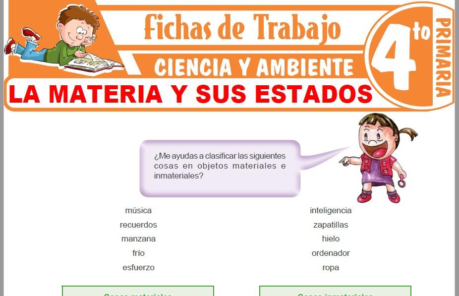 Modelos de la Ficha de La materia y sus estados para Cuarto de Primaria