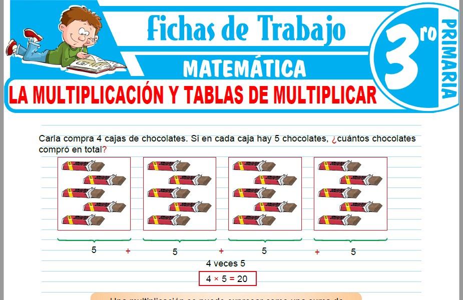 Modelos de la Ficha de La multiplicación y tablas de multiplicar para Tercero de Primaria