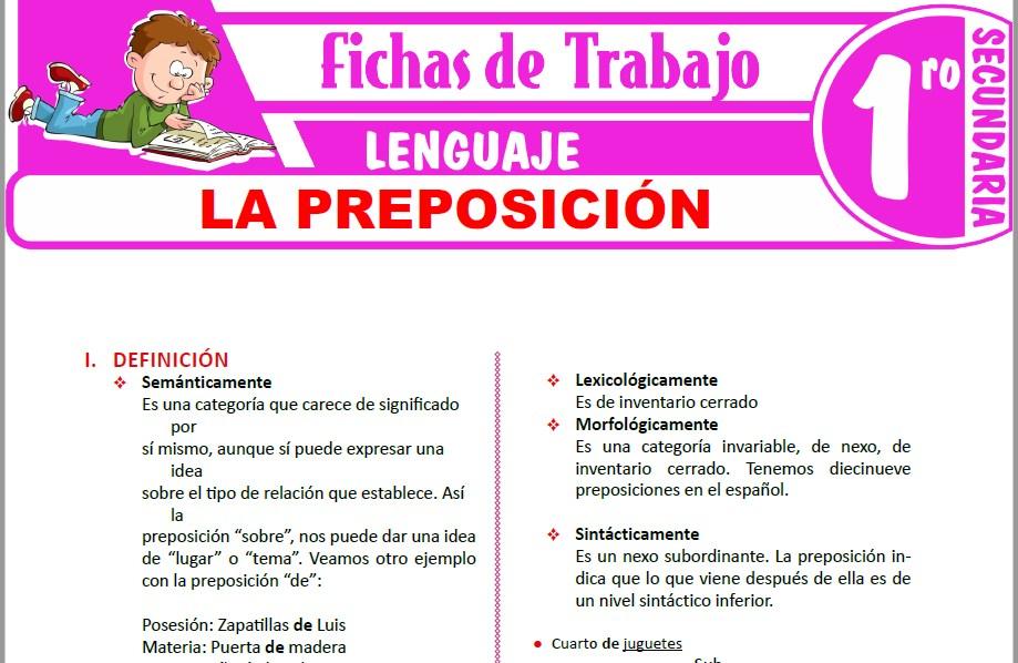 Modelos de la Ficha de La preposición para Primero de Secundaria