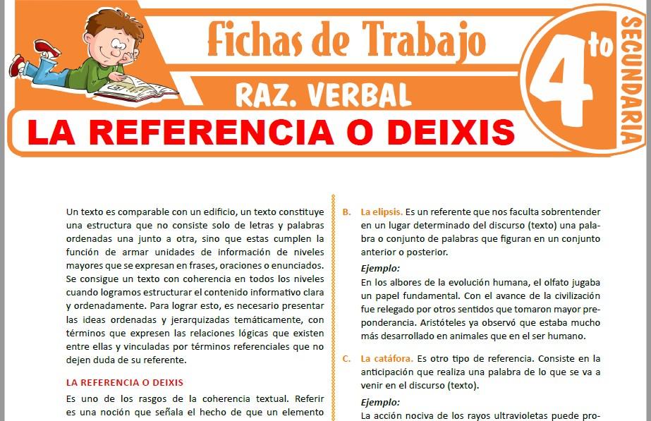 Modelos de la Ficha de La referencia o deixis para Cuarto de Secundaria