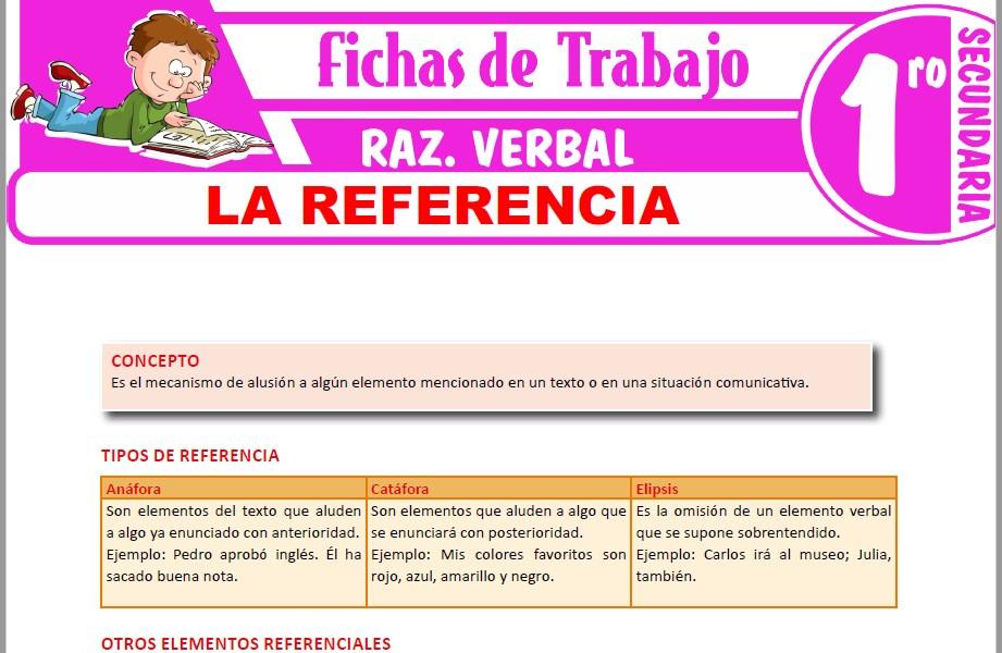 Modelos de la Ficha de La referencia para Primero de Secundaria