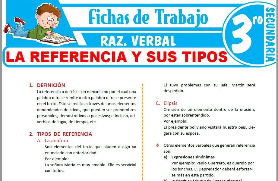 Modelos de la Ficha de La referencia y sus tipos para Tercero de Secundaria