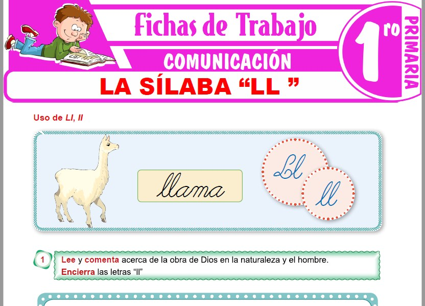 """Modelos de la Ficha de La sílaba """"LL"""" para Primero de Primaria"""