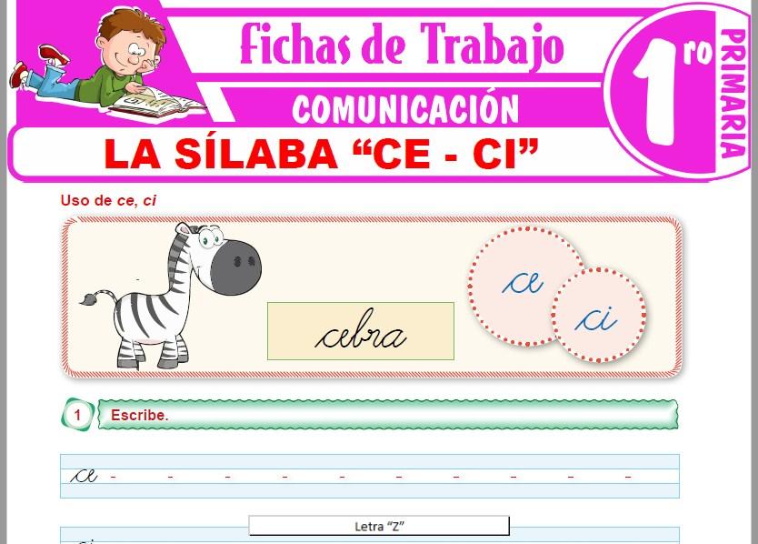 """Modelos de la Ficha de La sílaba """"ce - ci"""" para Primero de Primaria"""