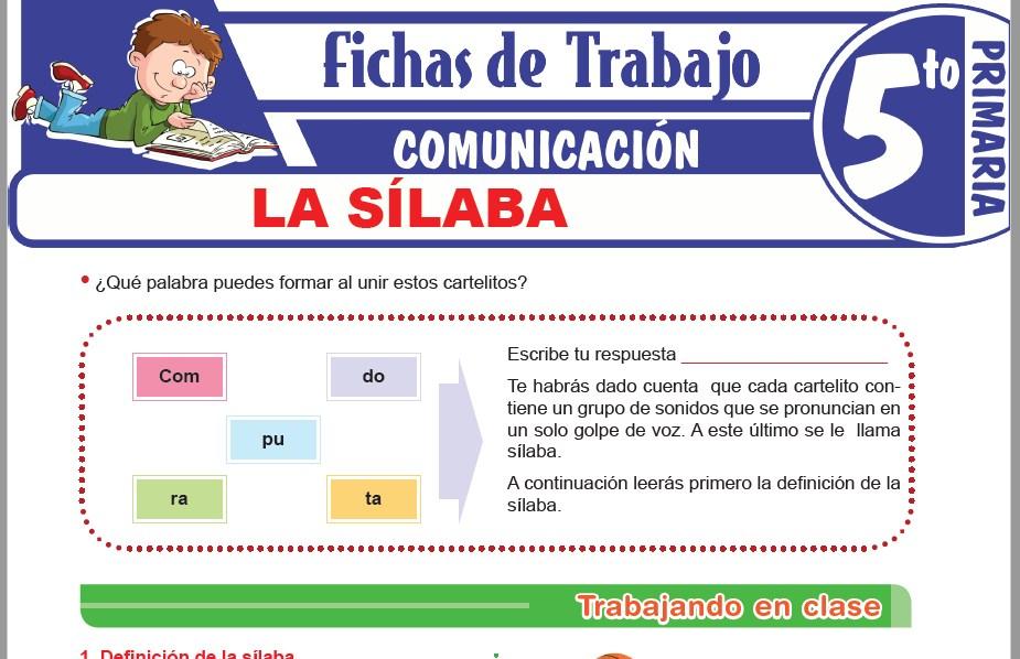 Modelos de la Ficha de La sílaba para Quinto de Primaria