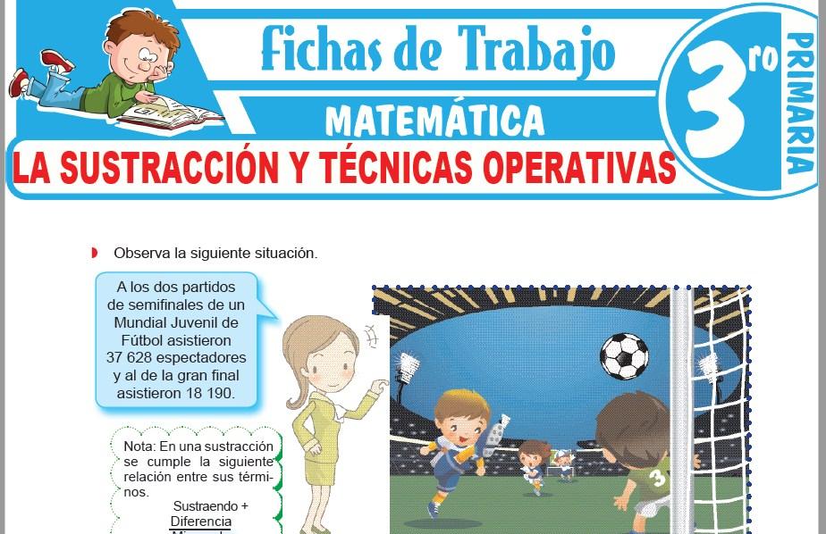 Modelos de la Ficha de La sustracción y técnicas operativas para Tercero de Primaria