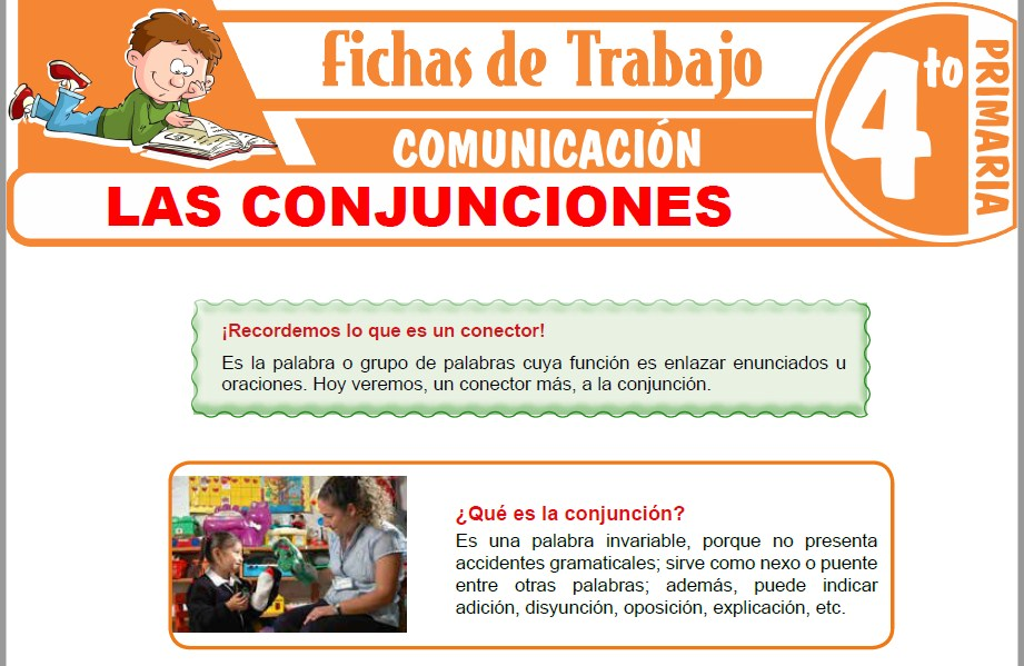 Modelos de la Ficha de Las conjunciones para Cuarto de Primaria