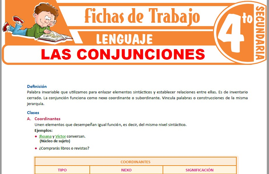 Modelos de la Ficha de Las conjunciones para Cuarto de Secundaria