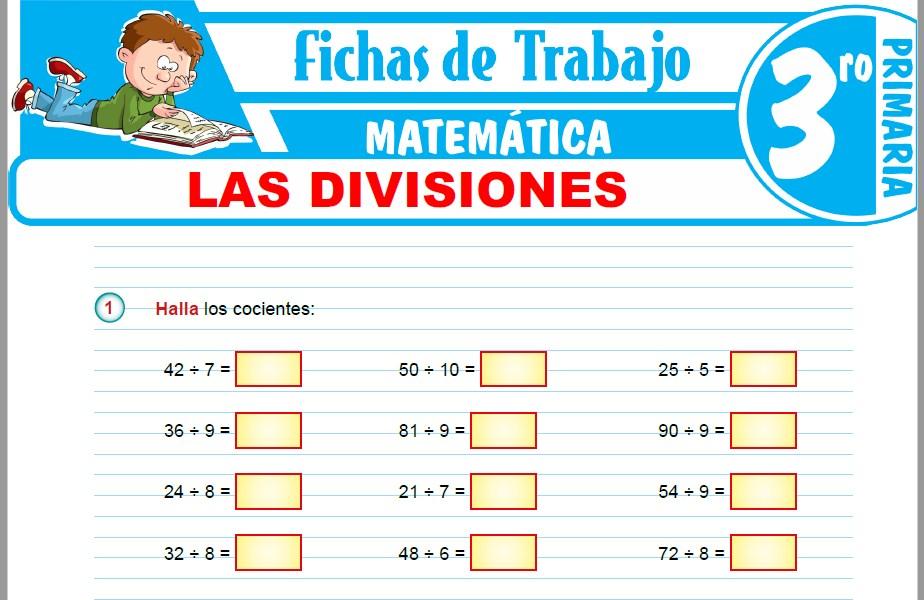 Modelos de la Ficha de Las divisiones para Tercero de Primaria