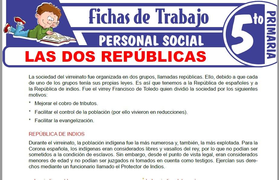 Modelos de la Ficha de Las dos Repúblicas para Quinto de Primaria