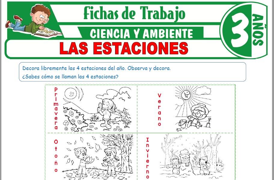 Modelos de la Ficha de Las estaciones para Niños de Tres Añoss