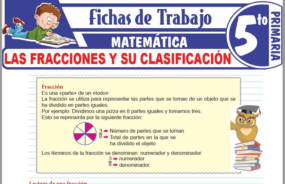 Modelos de la Ficha de Las fracciones y su clasificación para Quinto de Primaria