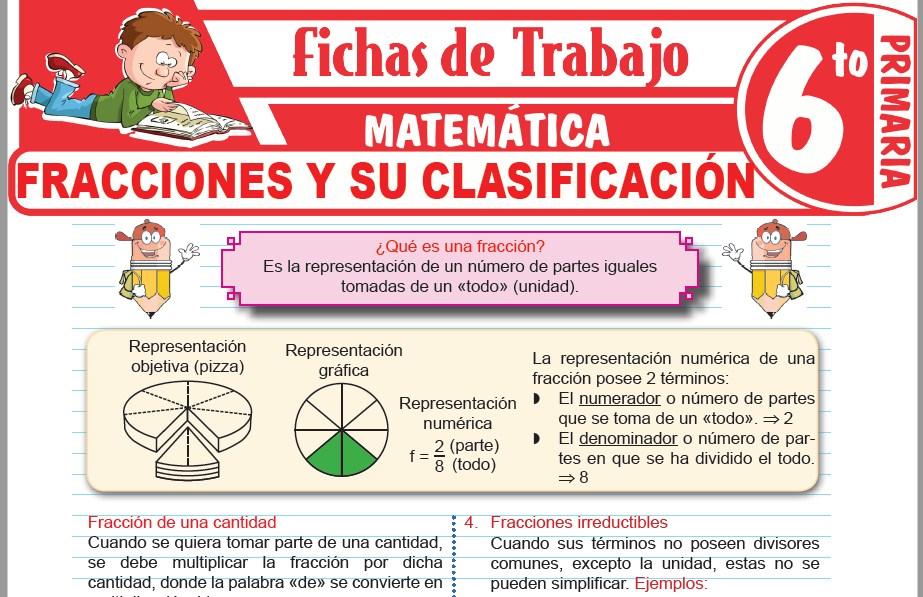 Modelos de la Ficha de Las fracciones y sus clases para Sexto de Primaria