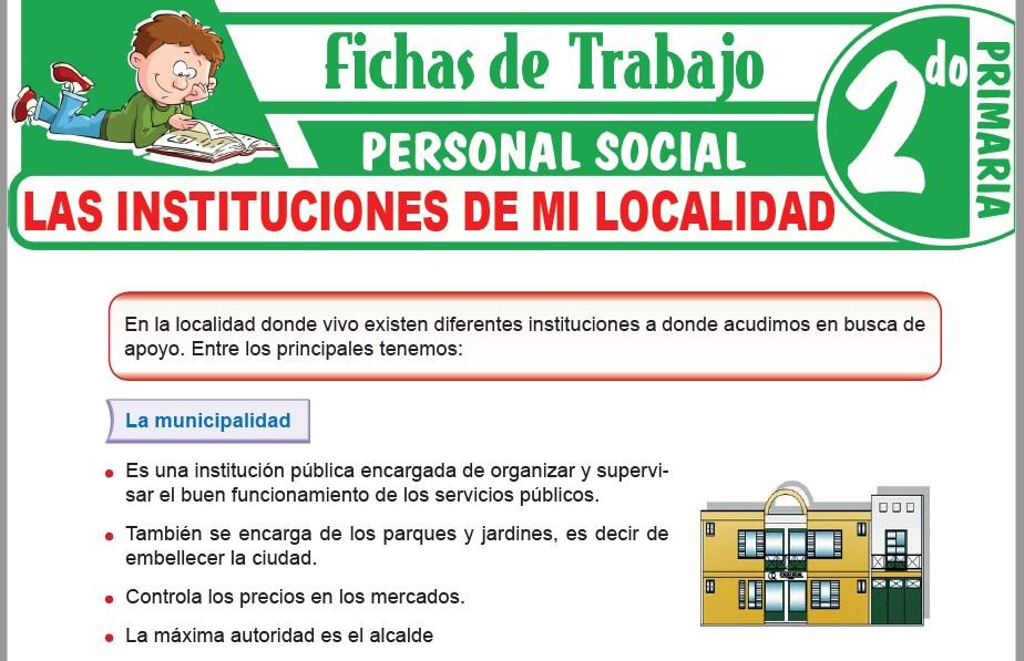 Modelos de la Ficha de Las instituciones de mi localidad para Segundo de Primaria