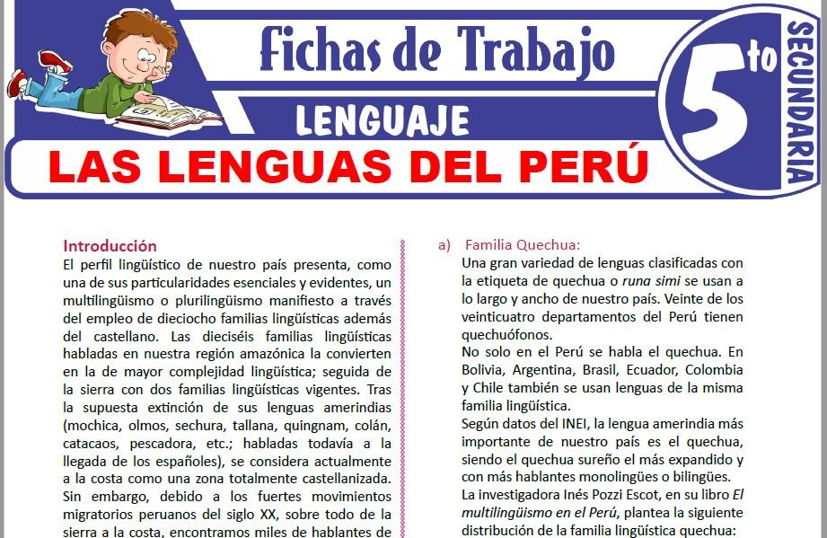 Modelos de la Ficha de Las lenguas del Perú para Quinto de Secundaria