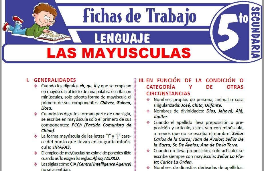 Modelos de la Ficha de Las mayusculas para Quinto de Secundaria