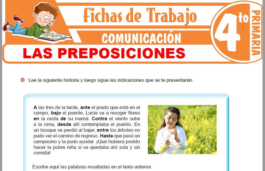 Modelos de la Ficha de Las preposiciones para Cuarto de Primaria